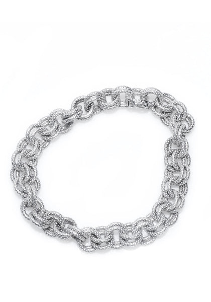 Marchisio Rolo Double Link White Gold Bracelet