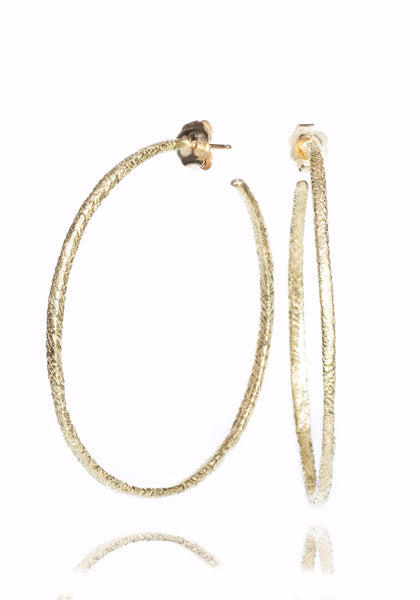 Dominique Cohen Yellow Gold Textured Hoops