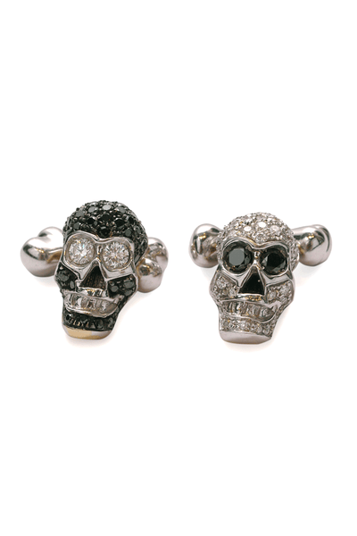 Adolfo Courrier Black & White Diamond Skull Cufflinks