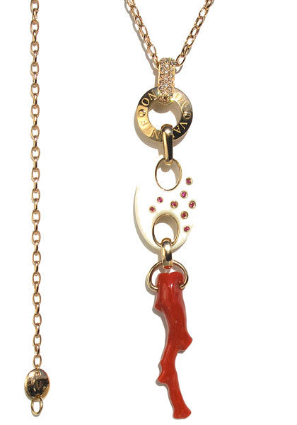 Valente Fossil Ivory & Coral Pendant Necklace