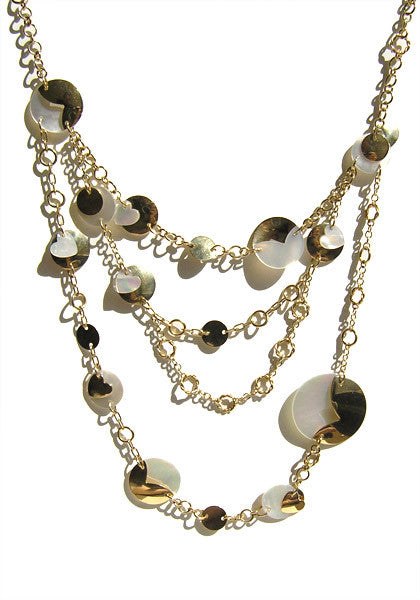 Triple Strand Mother-of-Pearl and Gold Disc Necklace