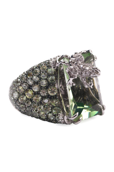 Adolfo Courrier Diamond Frog On Mint Sapphires & Green Quartz Ring