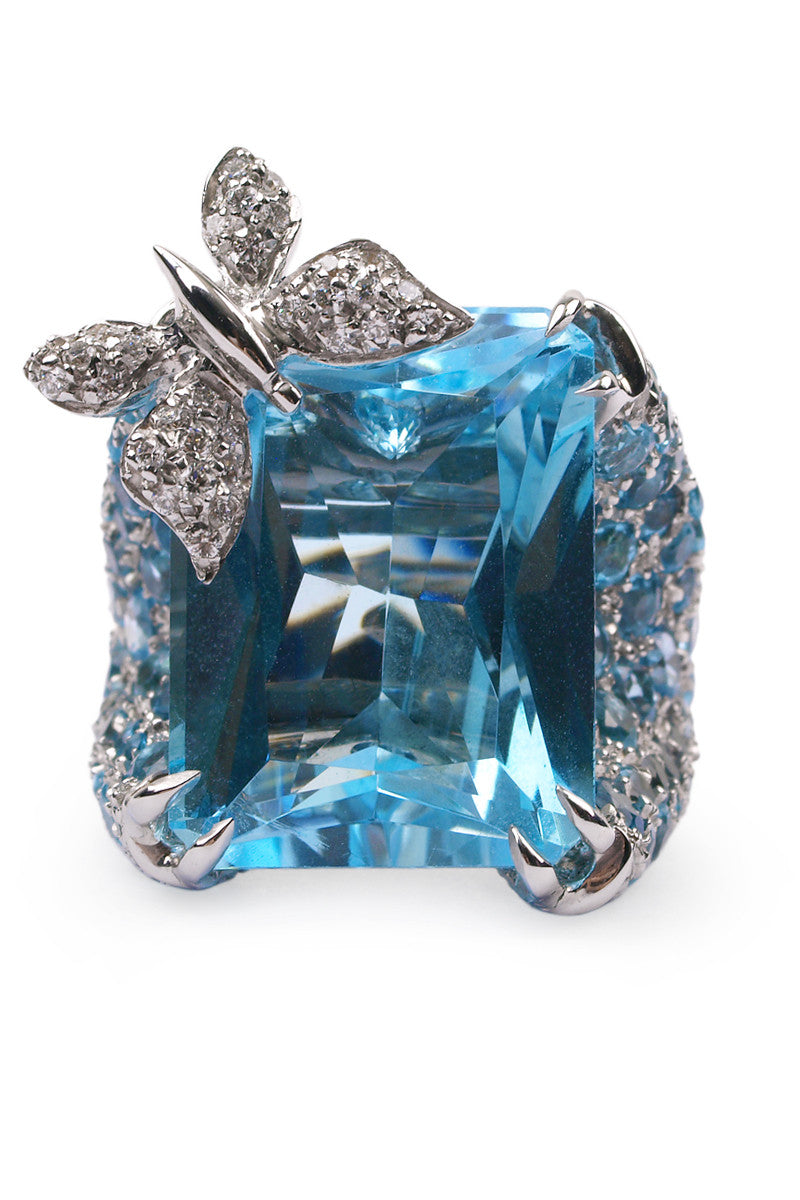 Adolfo Courrier Blue Sapphire & Diamond Butterfly Cocktail Ring
