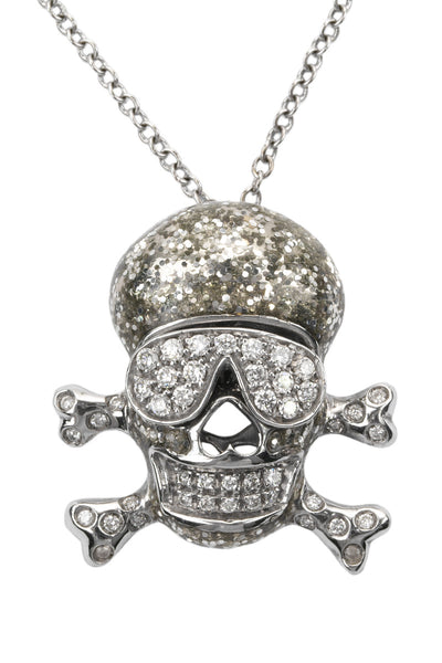 Adolfo Courrier Diamond & Silver Glitter Skull Necklace