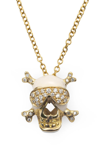 Adolfo Courrier Diamond Skull & Cross Bones Necklace