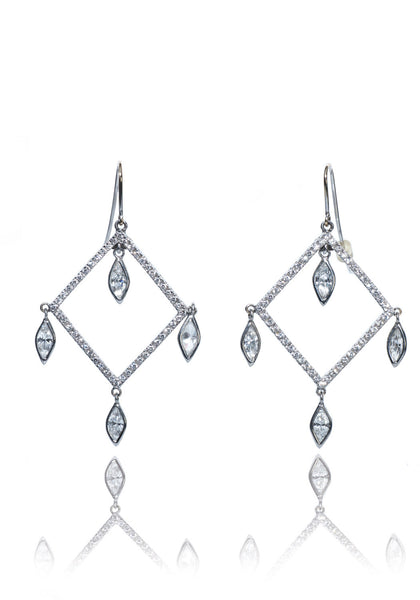 Square & Marquise Diamond Chandelier Earrings