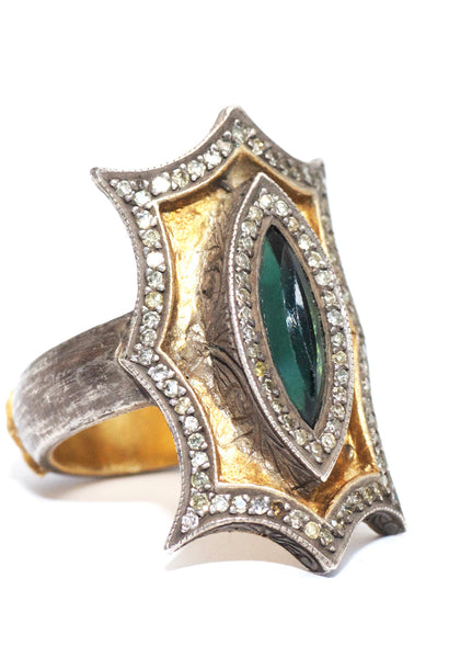 Sevan Bicakci Green Tourmaline Diamond Theodora Ring
