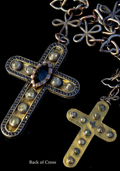Sevan Bicakci Blue Tourmaline Diamond Cross Necklace