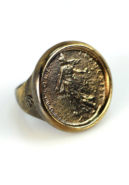 18k Blackened Goddess Coin Ring