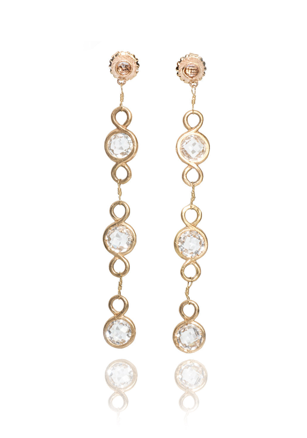 Dominique Cohen White Topaz & Rose Gold Duster Earrings
