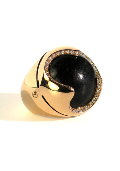 Oromalia Domed Ebony and Diamond Ring