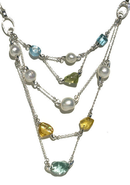 South Sea Pearl & Beryl Layered Necklace