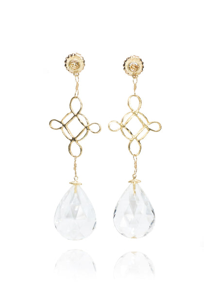Dominique Cohen White Topaz & Yellow Gold Bella Cross Dangle Earrings