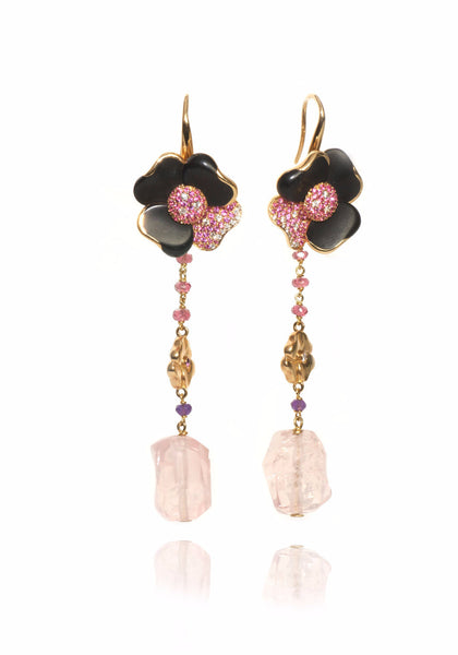 Valente Jet & Pink Sapphire Diamond Dangle Earrings