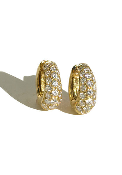 Garavelli Yellow Gold Diamond Huggie Earrings