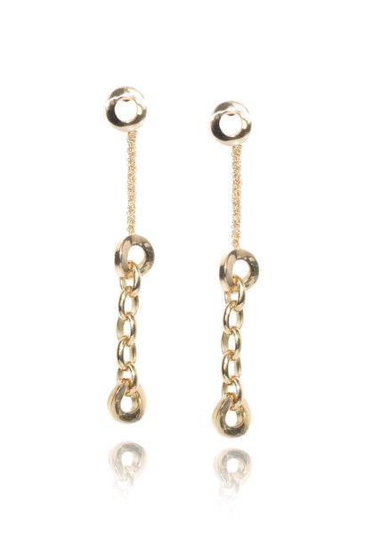 Calgaro Mini Diva Yellow Gold Link Dangles Earrings