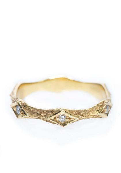 Arman Sarkisyan Pinched Gold Diamond Band