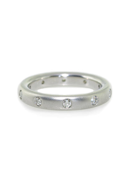 Precision Set White Gold Diamond Matte Band