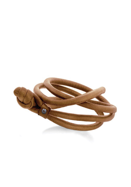 OLE LYNGGAARD Leather Bracelet Camel For Sweet Drops
