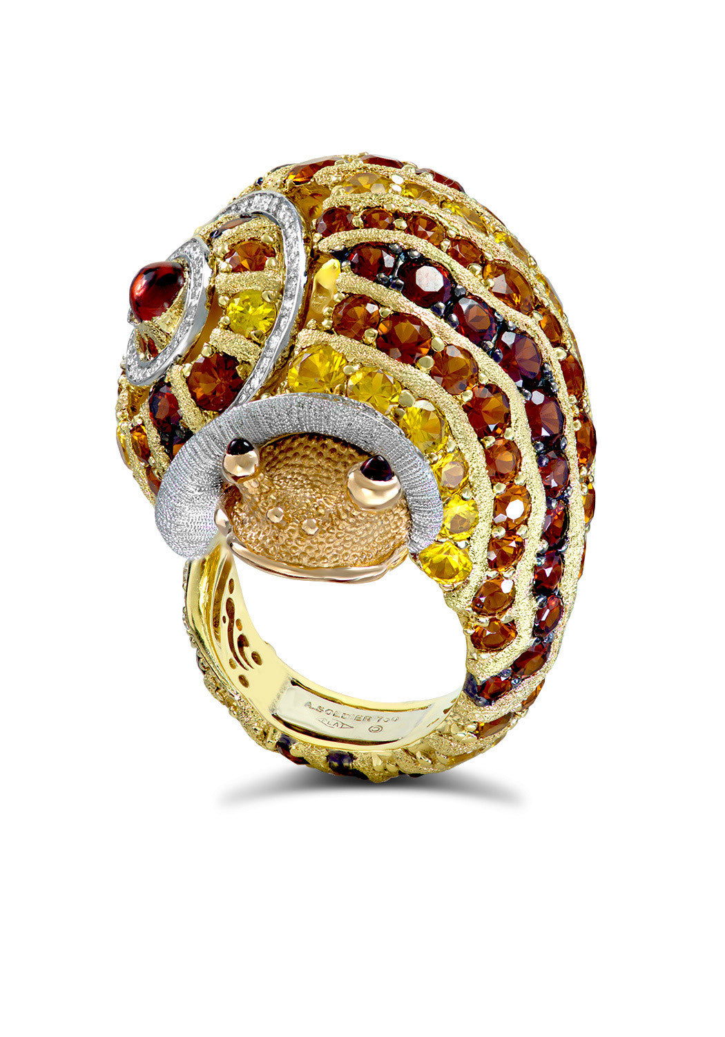 Alex Soldier Brown Diamond Snail Ring