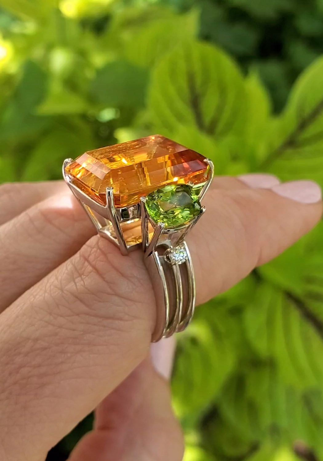 Antonini Antartica Citrine & Peridot, Diamond Cocktail Ring