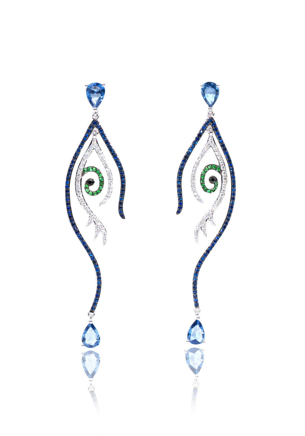 Anatol Diamond Sapphire & Tsavorite Evil Eye Drop Earrings