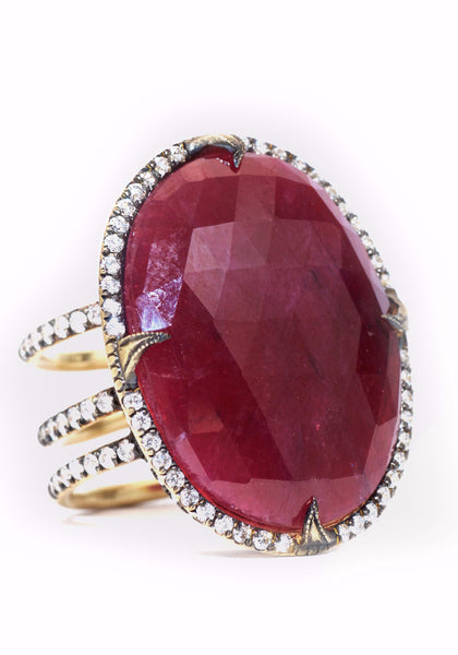 Sylva & Cie Oval Ruby With Diamonds Ring