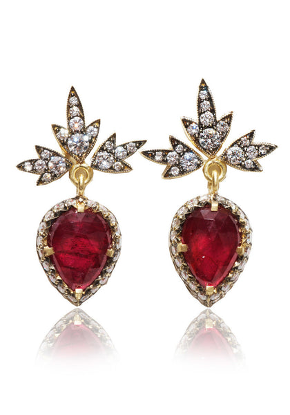 Sylva & Cie  Ruby With Diamond Drop Earrings