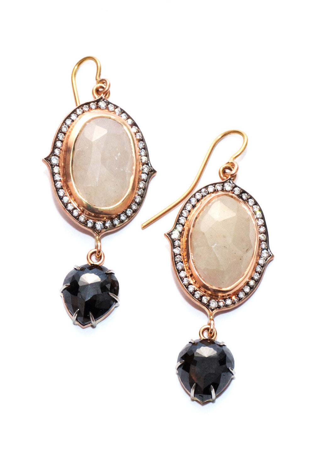 Sylva & Cie Gray Sapphire & Black Diamond Earrings