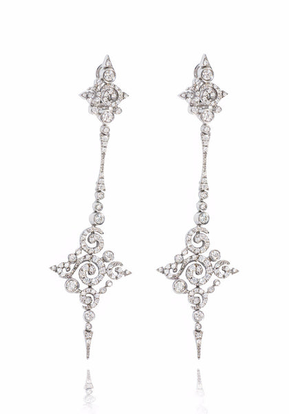 Stefan Hafner Astrakhan Scroll Diamond Dangle Earrings