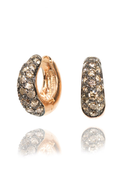 Garavelli Pave Brown Diamond Huggie Earrings