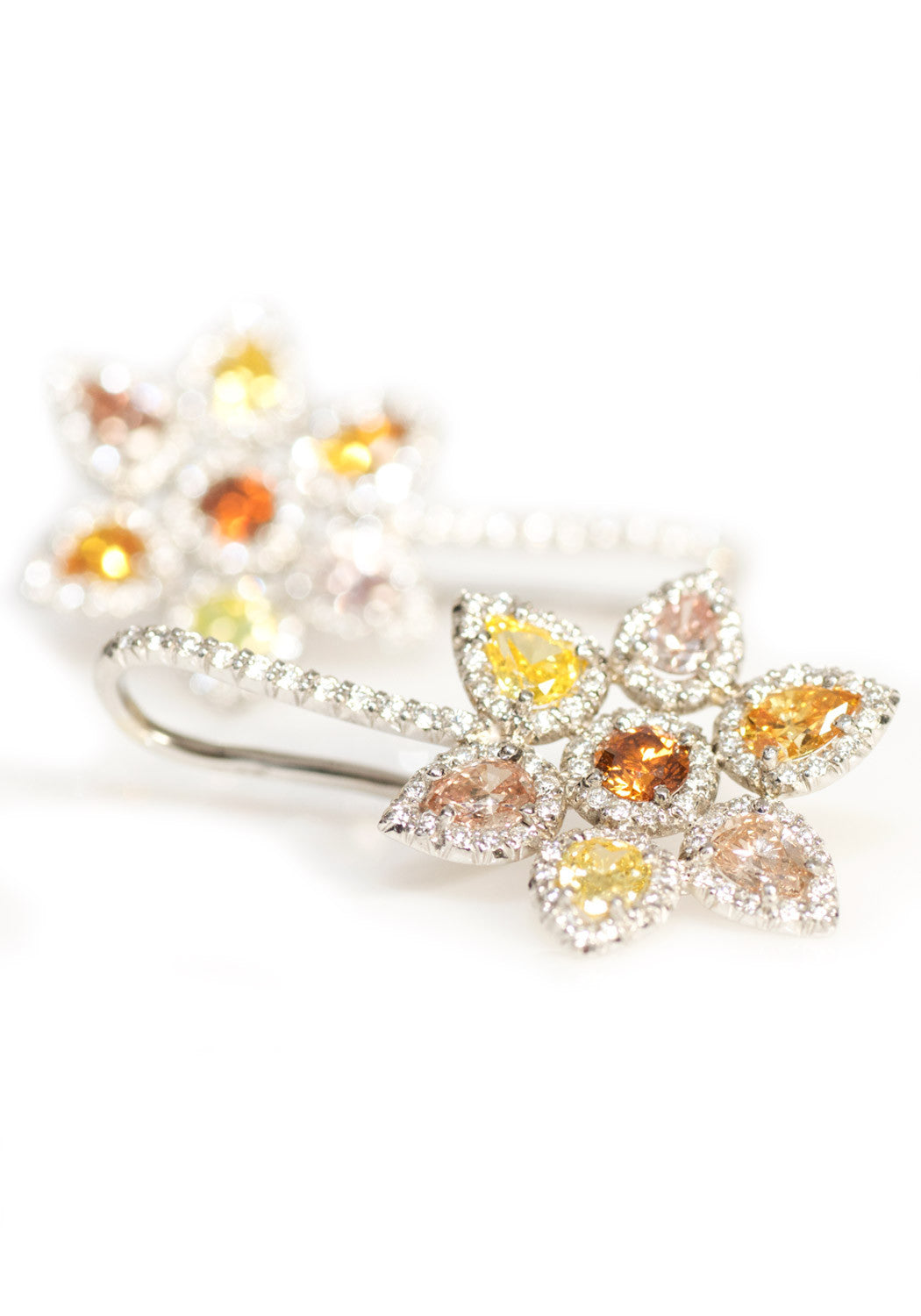 Eclat Fancy Colored Diamond Flower Earrings