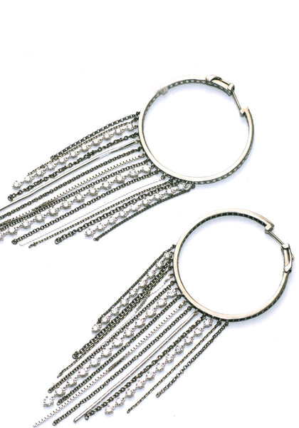 La Reina 5.69ctw Diamond Fringe Hoops