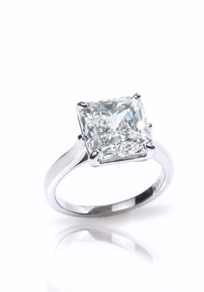 Louis Glick  Starburst Diamond Platinum Solitaire Ring