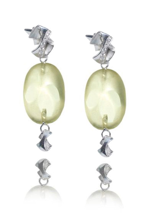 Italian made Balocchi Preziosi Lemon Quartz & Diamond Drop Earrings
