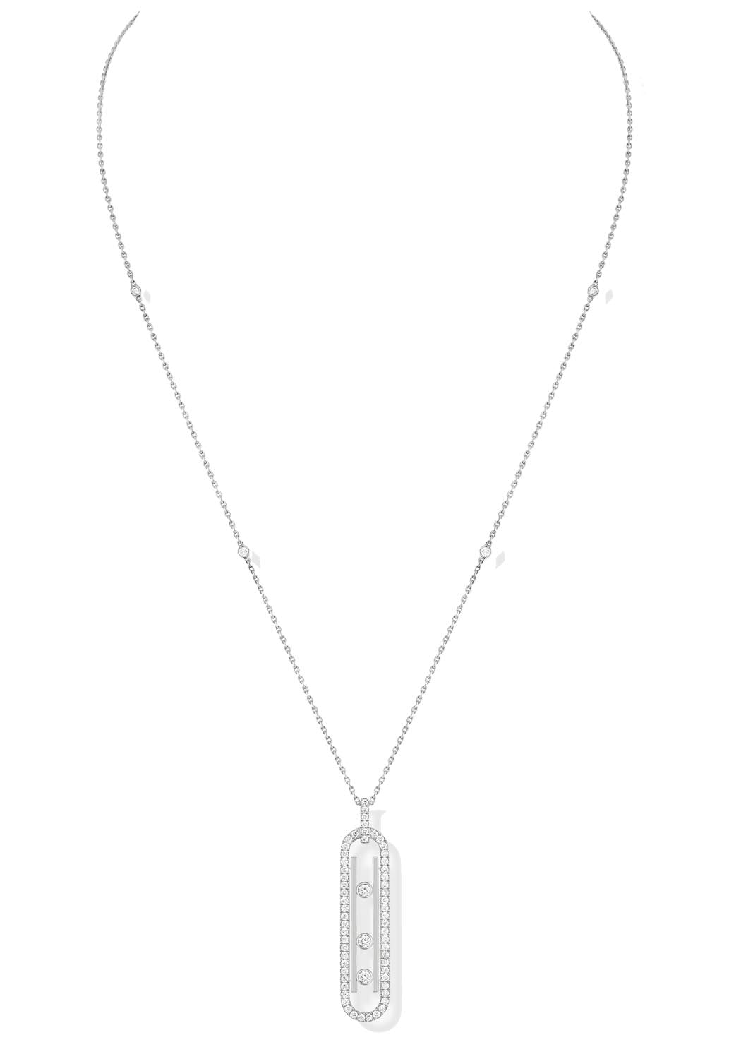 Messika Move 10th PM Diamond White Gold Necklace
