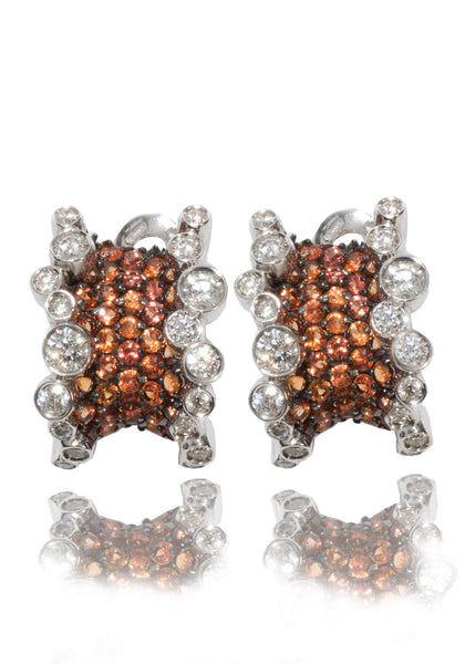 Stefan Hafner Corset Orange Sapphire & Diamond Earrings
