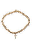 Sydney Evan Diamond Small Cross Gold Bead Bracelet
