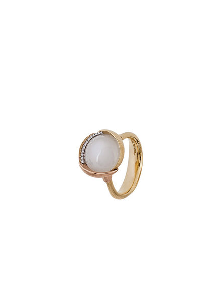 OLE LYNGGAARD Lotus White Moonstone & Diamond Ring