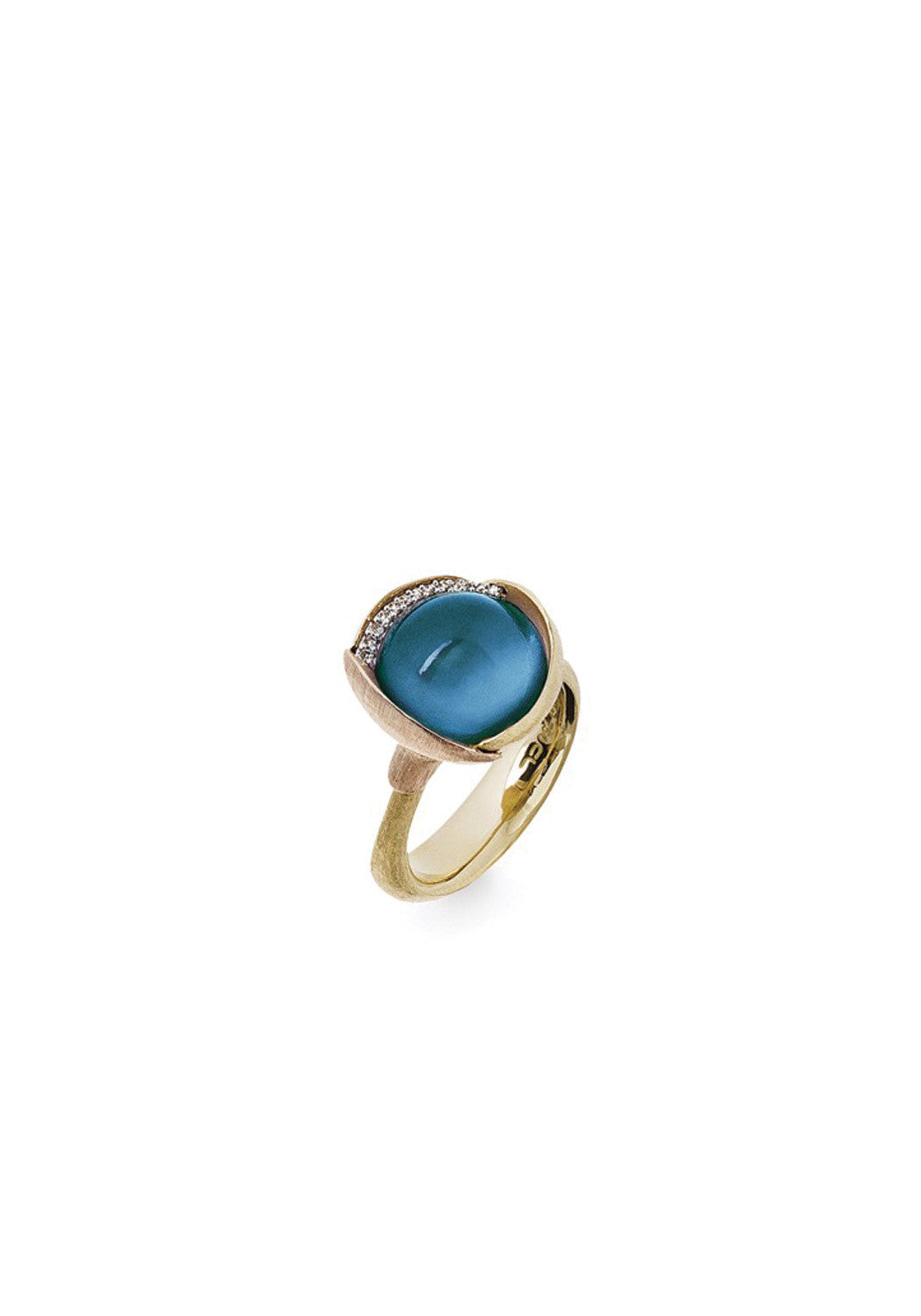 OLE LYNGGAARD Lotus London Blue Topaz & Diamond Ring