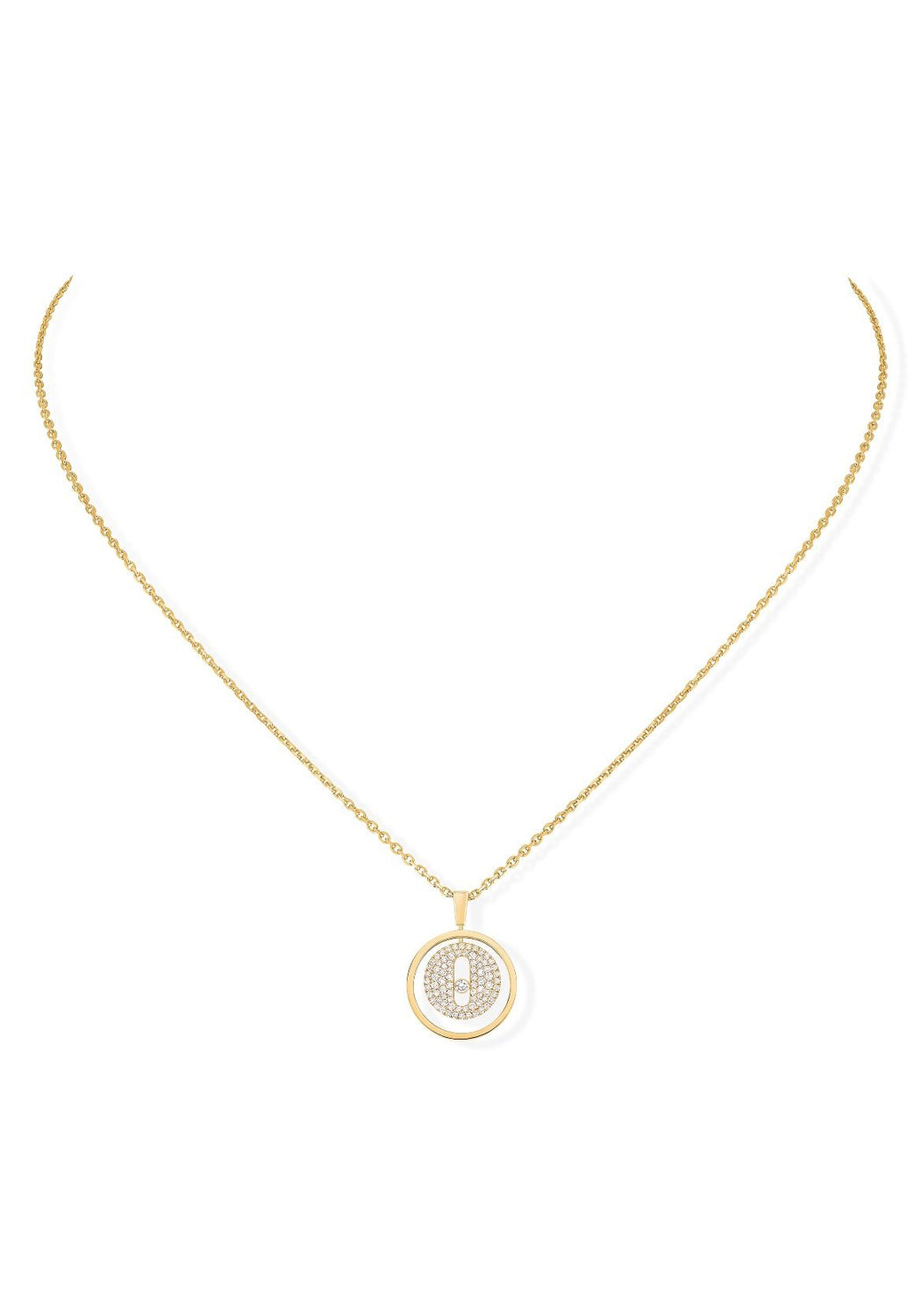Messika Lucky Move PM Pavé Diamond Yellow Gold Necklace