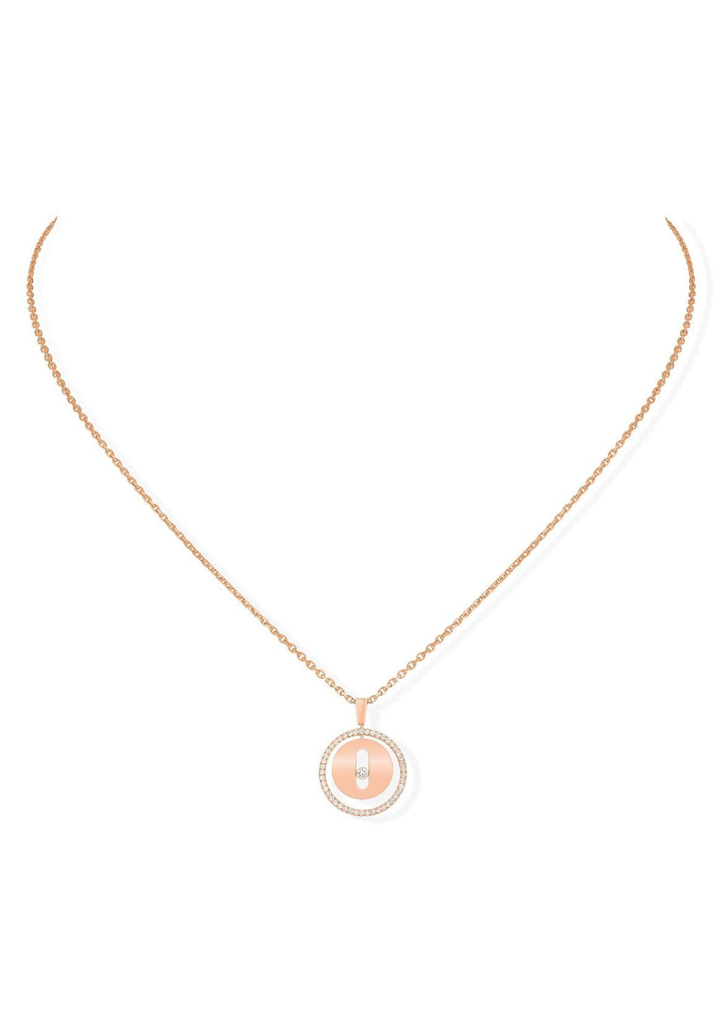 Messika Lucky Move PM Pavé Diamond Rose Gold Necklace