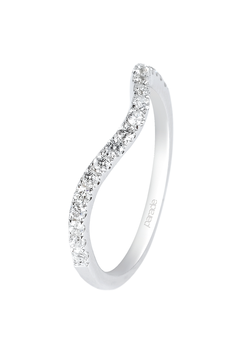 Parade Designs Diamond Yellow Gold Curved Band