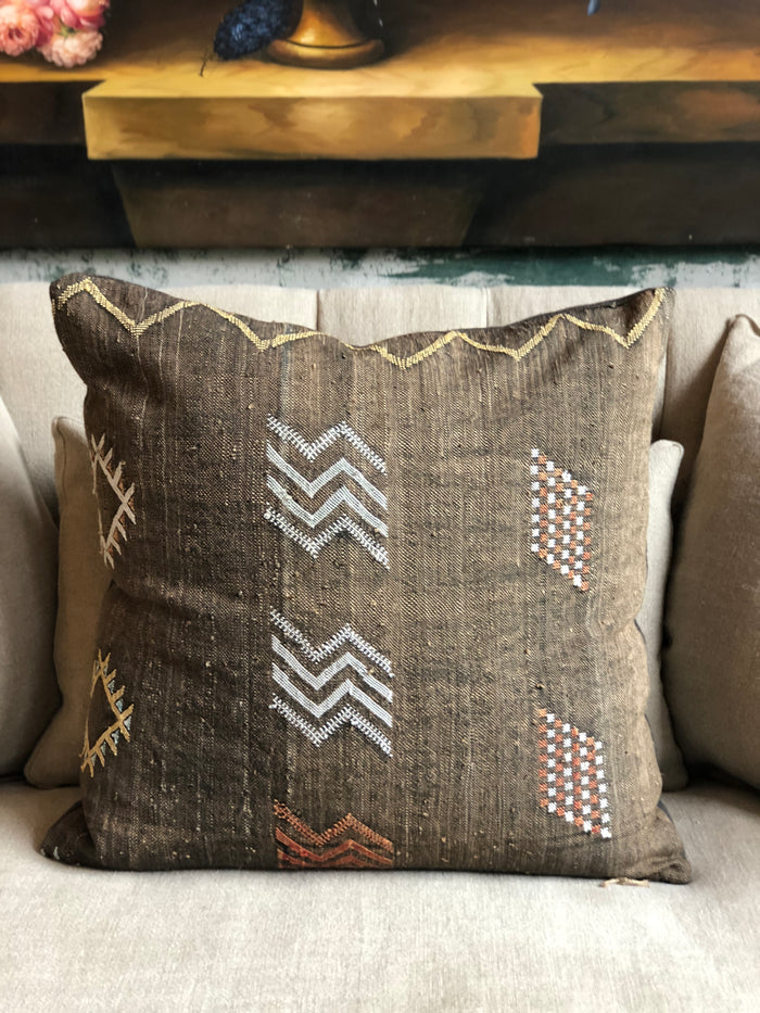 Moroccan Blanket Pillow with Down-Feather Insert