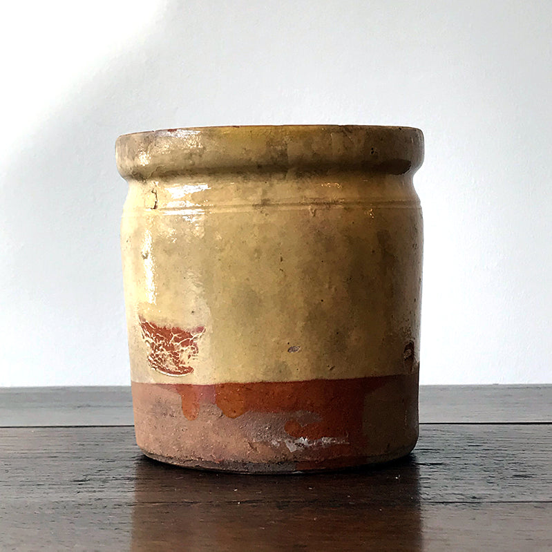 French Confiture Pot - Terracotta Yellow Glazed