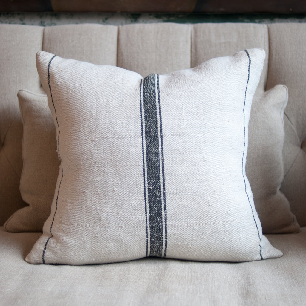 Custom Pillow Upholstered from an Antique French Grain Sack with Feather and Down Insert
