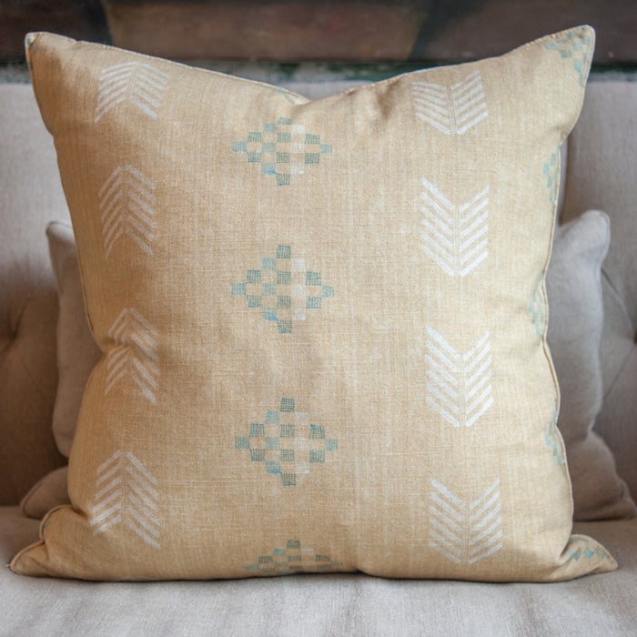 Custom Pillow in Farrah Wheat with Feather and Down Insert