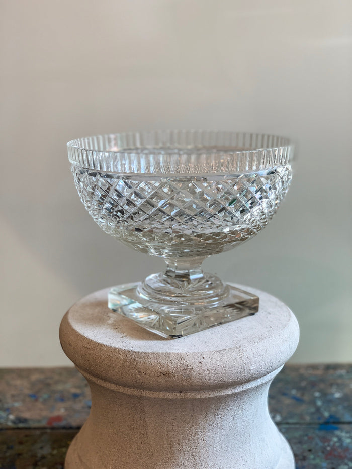 Vintage Pineapple Cut Glass Pedestal Bowl