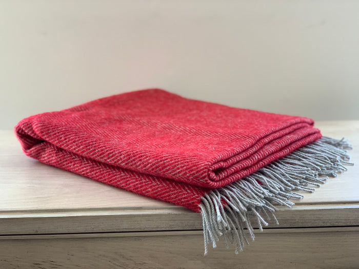 Crimson Wool Throw