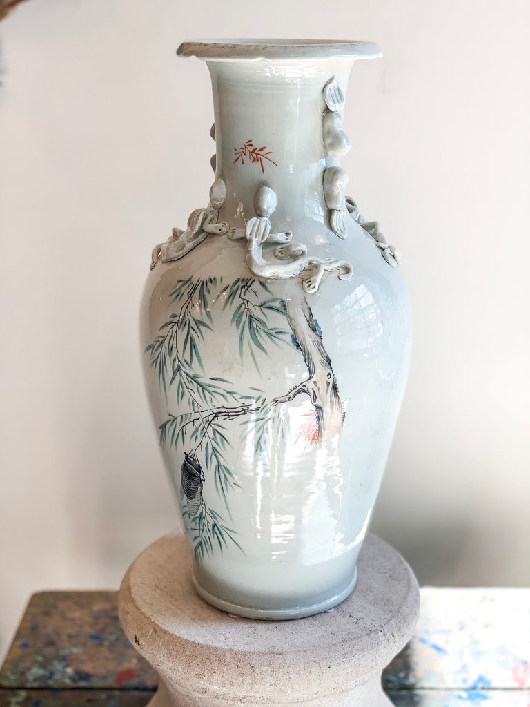 Famille Vase with Cicada and Sprig Design